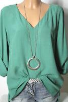JONES Bluse Gr. 38-40 grün Langarm Chiffon Bluse/Tunika