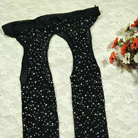 New Women Crystal Rhinestone Fishnet Net Mesh Socks Stockings Tights Pantyhose #