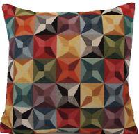 "Oriental Cushion Cover Woven Rug Kilim Pattern Kaleidoscope Fabric Square 16"""