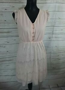 M Butterfly Womens Dress Size M 8/10 Peach Nude Romantic Lace Ruffle Sleeves