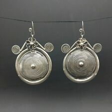 silver big circle earring 1pair Personality retro Chinese pure handmade miao