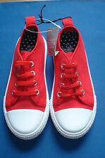 Bright Red Canvas Shoes For Boys Size 8 New With Tags