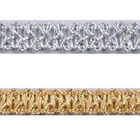 Essential Trimmings 10mm Metallic Braid Sparkly Trim Plait like