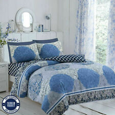 100% Cotton (Vector blue) Duvet Cover and Pillowcase Fitted Sheet Bedding Set