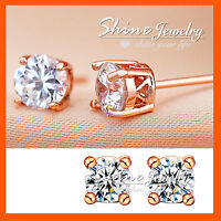 18K ROSE GOLD GF SOLID MENS WOMENS 1CT ROUND STUD EARRINGS W/ Simulated Diamond