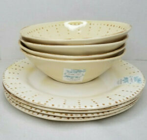 Shabby Chic Dinner Set 4 Plates & 4 Bowls Faded Yellow Melamine With Brown Dots