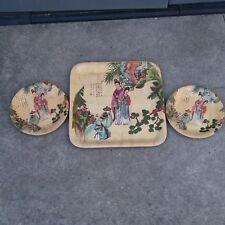China Taiwan Bamboo weaving round and square Beauties plate 3ps 台湾竹子编仕女图圆盘和方盘3个