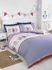 Seaside Beach Huts Holiday Quilt Cover White Blue Red + Stripe Reverse Bedding