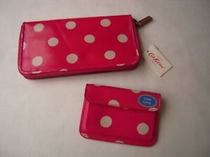 NEW CATH KIDSTON BUTTON SPOT ZIP WALLET, RASPBERRY WITH MATCHING COIN PURSE