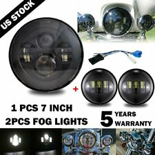 "7"" Black LED Projector Headlight Hi/Low + Passing Lights For Harley Touring BL"