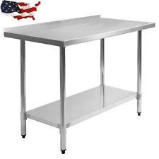 "Stainless Steel Work Prep Table with Backsplash Kitchen Restaurant 24"" x 48"" New"