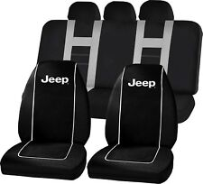 Jeep Logo Black High Back Seat Covers Gray UAA Universal Fit Bench Seat Cover