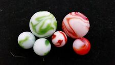 AWESOME Loose Green and Red Swirled MARBLES. Various ones. A Must See!