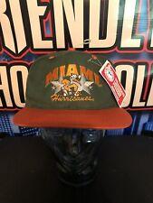 VTG Miami Hurricanes Green + Orange Snapback Hat Cap NWT Deadstock NCAA