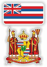 HAWAII Flag + coat of arms 2 bumper stickers decals USA