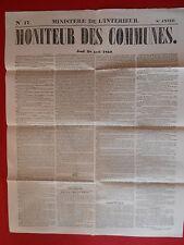 JOURNAL LE MONITEUR DES COMMUNES MINISTERE DE L'INTERIEUR N° 17 - 28 AVRIL 1859