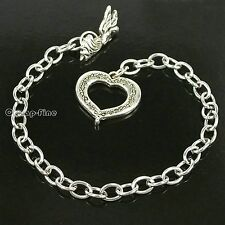 Wholesale 10x Stainless Steel chain ANGEL WING HEART bracelet for charm dangles