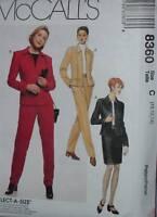 8360 Vintage McCalls SEWING Pattern Misses Unlined Jacket Skirt Pants UNCUT OOP