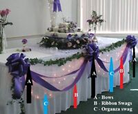 Wedding Top Table Decoration Kit Extra Long Bows Swags All Colours Personalised