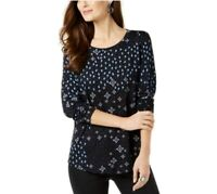 Style & Co Womens S Blue Combo Floral Long Sleeve Crew Neck Top NWT
