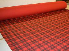 CHECK rosso tartan punk Stampa Stretch Cotone Elastan twill tessuto al metro