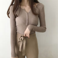 Fashion Women Knitted Tops Slim Casual Pullover Plain Autumn Winter SweME