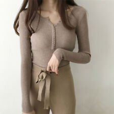 Fashion Women Knitted Tops Slim Casual Pullover Plain Autumn Winter Sweater.dr