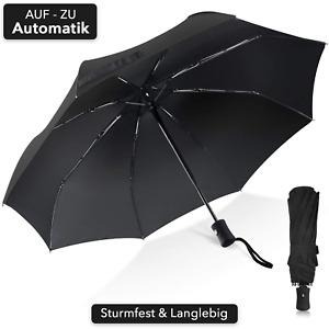 Regenschirm Schwarz Automatik Stabil Sturmsicher Windfest Groß Herren Damen Kind