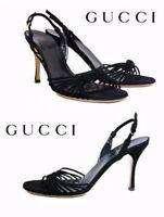 NEW GUCCI BLACK KID LEATHER SHOES SANDALS  10