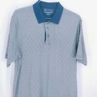 Jos A Bank Mens Blue Leadbetter Golf Argyle Collared Polo Shirt Size Large
