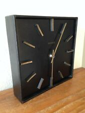 Horloge pendule noire KIPLE simili cuir    VINTAGE     Années  60's 70's