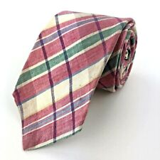 "Boston Traders Pink Plaid Cotton Men's Tie Length: 55"" Width: 3""  (A48)"