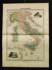 1882:DA ATLAS MIGEON.ITALIA ANTICA,SICILIA SARDEGNA,Doppio Foglio Cm 46x35 .ETNA