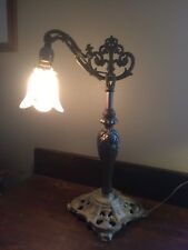 Antique Art Deco Bridge Arm Lamp Adjust Lt Pinkish/White Tulip Glass Shade