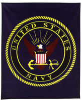 "US Navy Insignia Fleece Blanket, 50"" x 60"", Navy Blue"