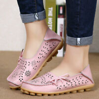 Women's Lazy Loafers Peas Leather Moccasin Shoes oxfords Casual Driving Flats