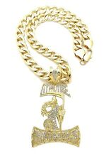 "HYPNOTIZE MINDS PENDANT WITH 24"" 11mm CUBAN CHAIN"