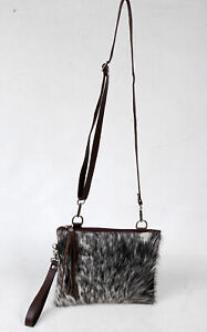 Real Cowhide Cross body Purse Handbag & Hand Clutch  Cow Hide Leather  SA-6655