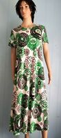 Green & Black Floral Short Sleeve Long Maxi Dress No Iron Travel Knit Jostar S