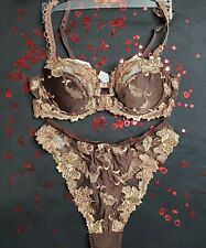 Simone Perele Chocolate & Gold Lightly Padded Bra & Thong - New W/out Tag - 34B