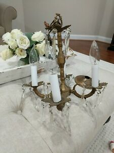 Vintage Petite  Spanish Brass Chandelier crystal prisms