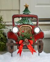 Solar Lighted Vintage Red Truck Stake Christmas Tree Yard Garden Outdoor Decor