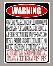 "Texas Open Carry Law business ""prohibited"" sign in Spanish 12""x18"" - Free Ship"