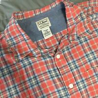 LL Bean Orange Blue Plaid Button Down Men's XLT XL Tall Slightly Fitted Shirt