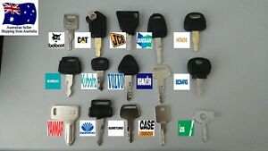 Pick any 5 Excavator Plant Keys Set of 5 BOBCAT CAT JCB HITACHI KUBOTA KOMATSU