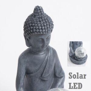 Garden Ornament Solar Power Buddha LED Lighting Stone Statue Effect Home Outdoor