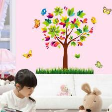 Colourful Butterflies tree Grass wall stickers Decal Decor Kids Nursery TV Room