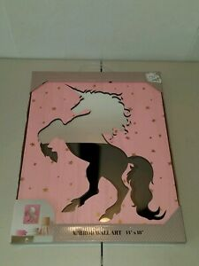 Unicorn Cutout Wall Accent Mirror Pink Wood Gold Metallic Color Stars 14x18  New