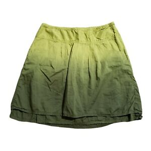Athleta Whisper Skirt Green Ombre Women's 6 Cotton A Line Tiered Layered Pockets