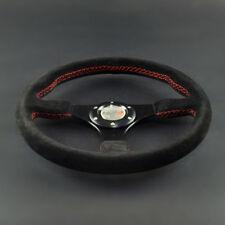 "13.7""inch/350mm 3 Spoke Flat Black Matte Leather Racing Steering Wheel Black"